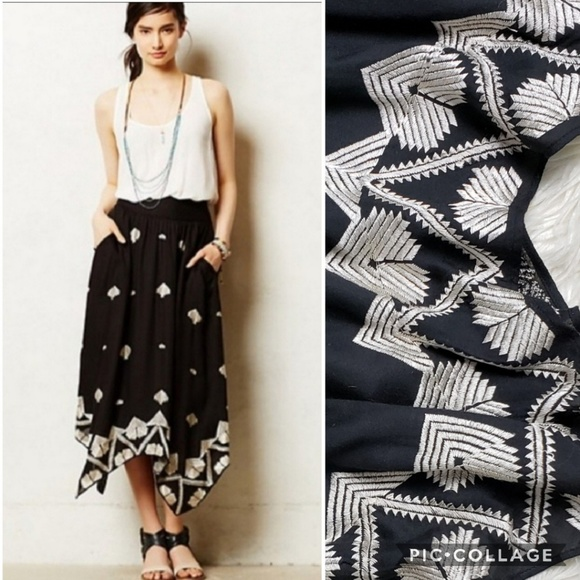 Anthropologie Dresses & Skirts - Floreat Insignia Embroidered Hankerchief Skirt
